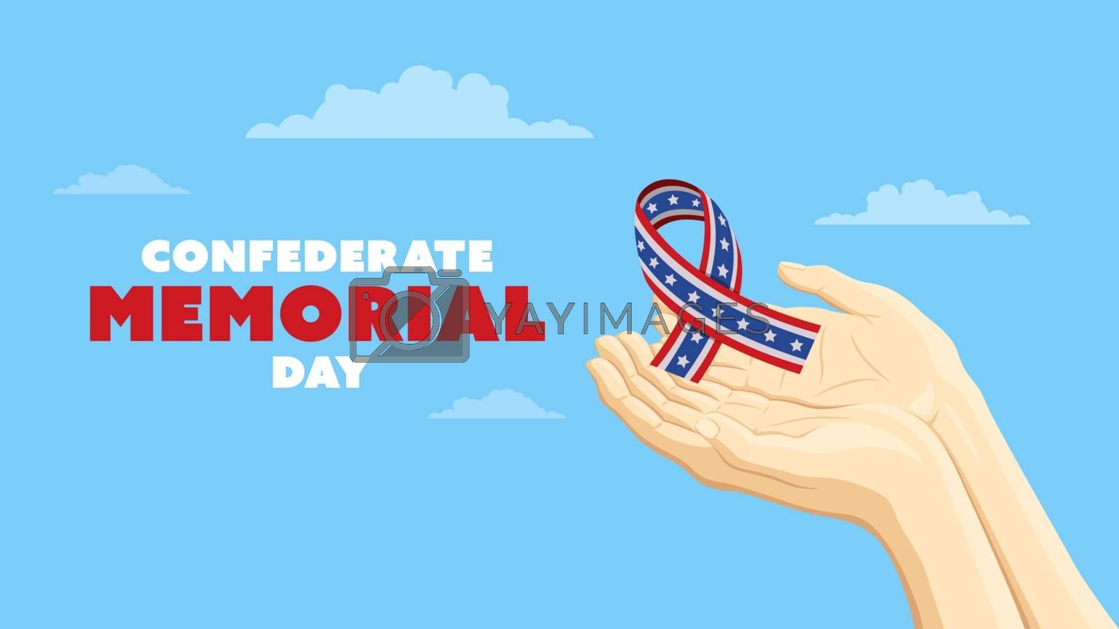 Detailed flat vector illustration of two hands holding a Confederate Ribbon. Confederate Memorial Day.