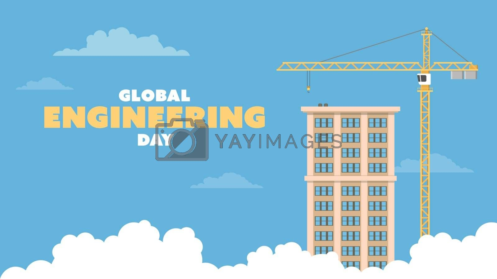 Detailed flat vector illustration of a tower crane and a tall building on a blue background with clouds. Global Engineering Day.