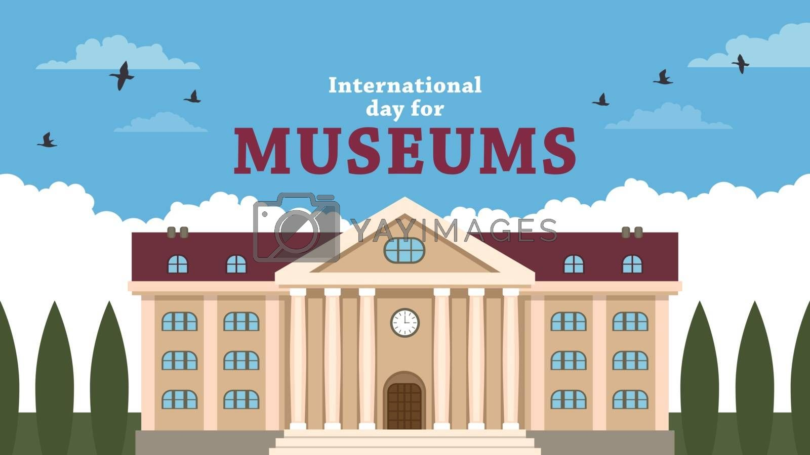Detailed flat vector illustration of a museum building. International Day for Museums.