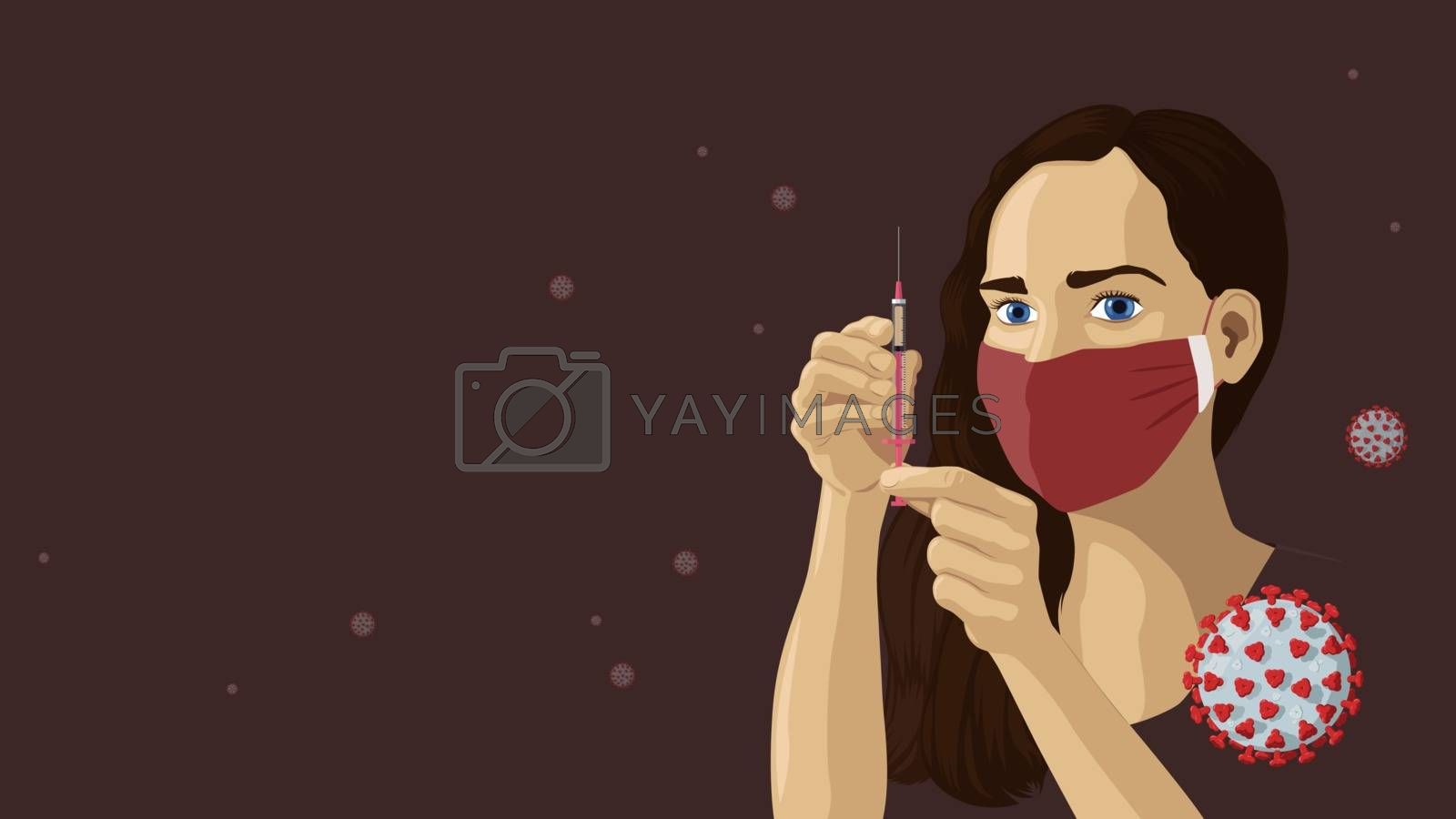Detailed flat vector illustration of a woman with a face mask holding a vaccine. Viruses floating around in the air.