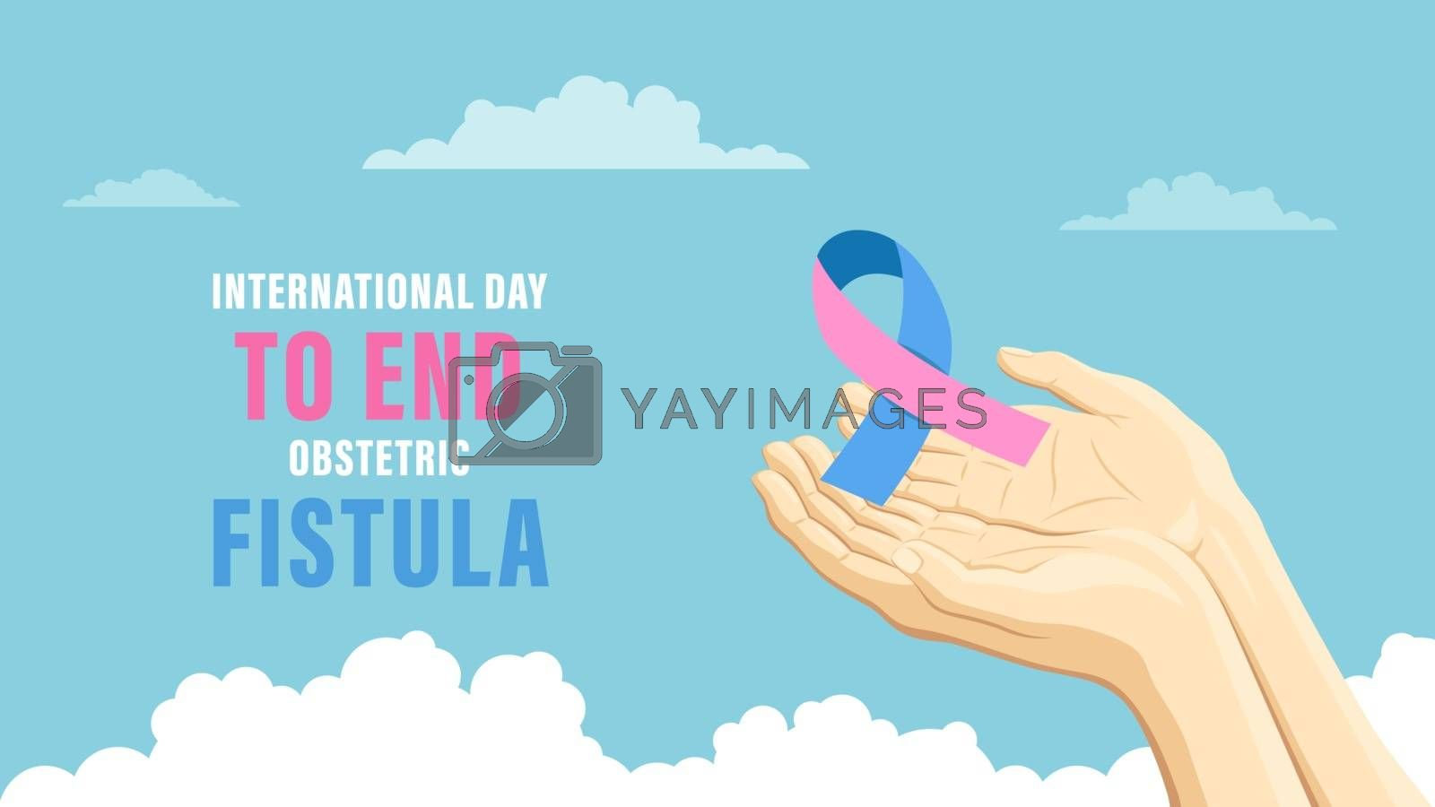 Detailed flat vector illustration of two hands holding a pink and blue ribbon representing the International Day to End Obstetric Fistula.