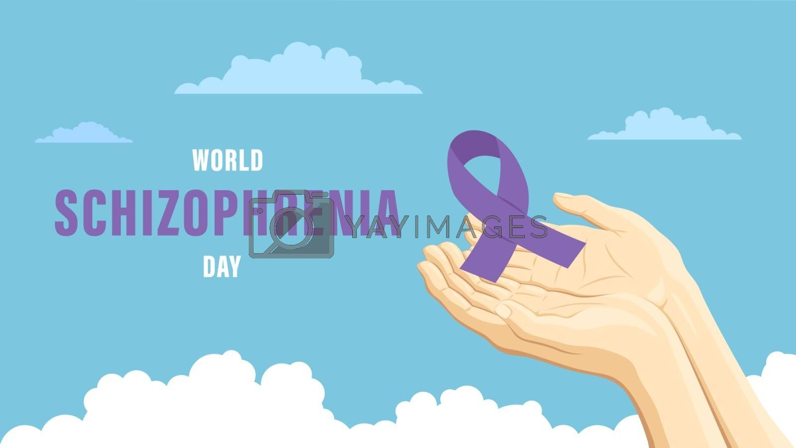 Detailed flat vector illustration of two hands holding a purple ribbon representing the World Schizophrenia Day.