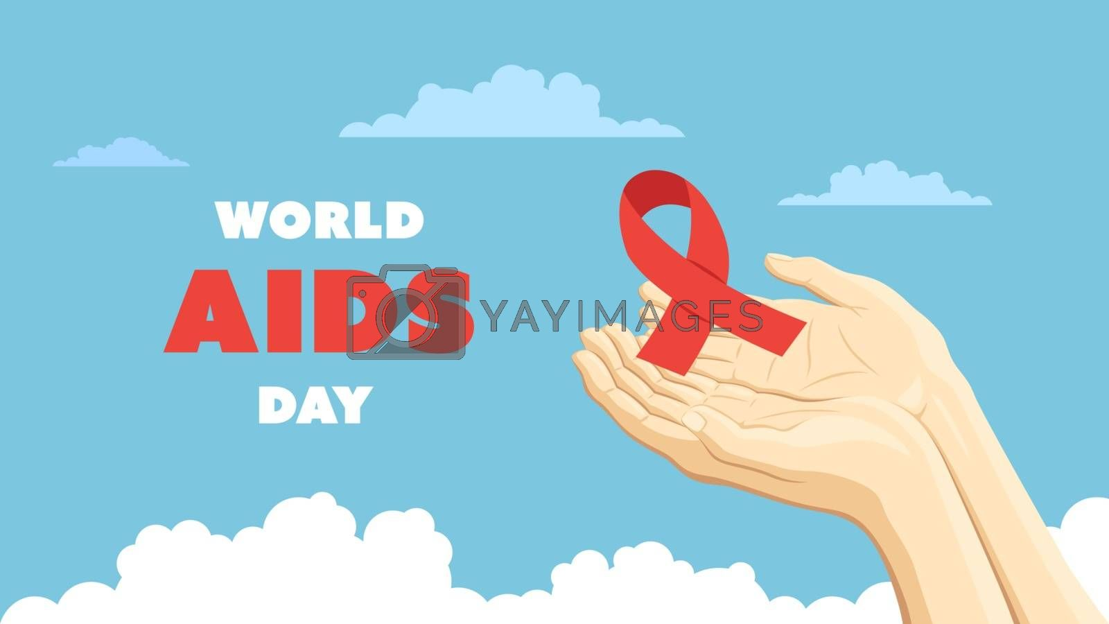 Detailed flat vector illustration of two hands holding a red ribbon representing the world AIDS day.