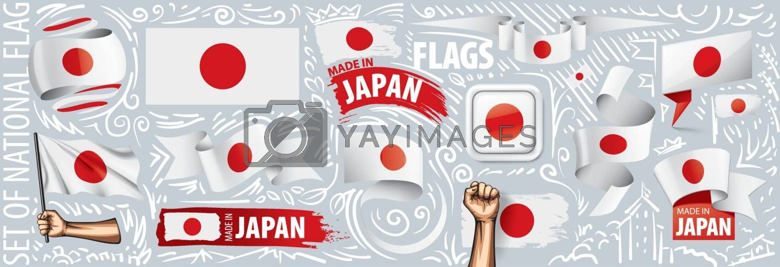 Vector set of the national flag of Japan in various creative designs.