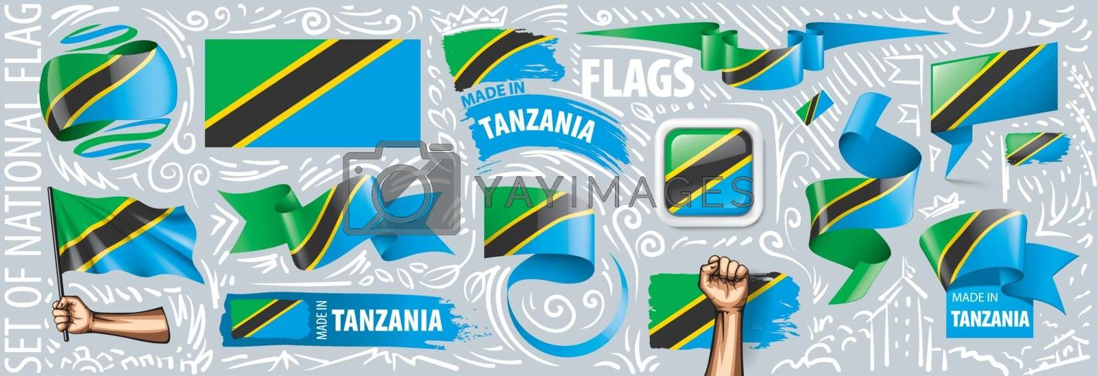 Vector set of the national flag of Tanzania in various creative designs.