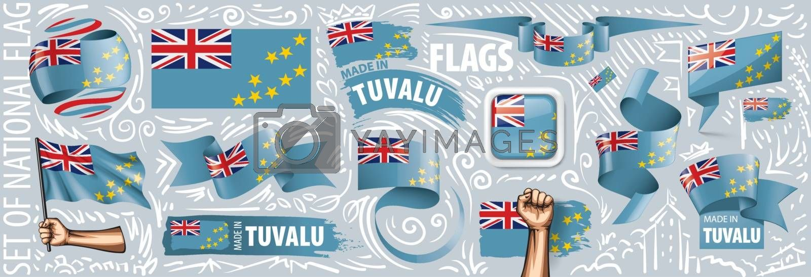 Vector set of the national flag of Tuvalu in various creative designs.
