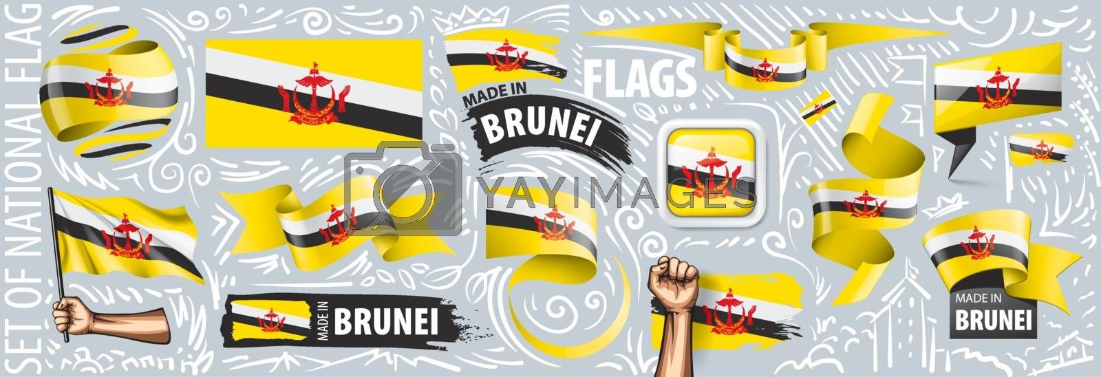 Vector set of the national flag of Brunei in various creative designs.