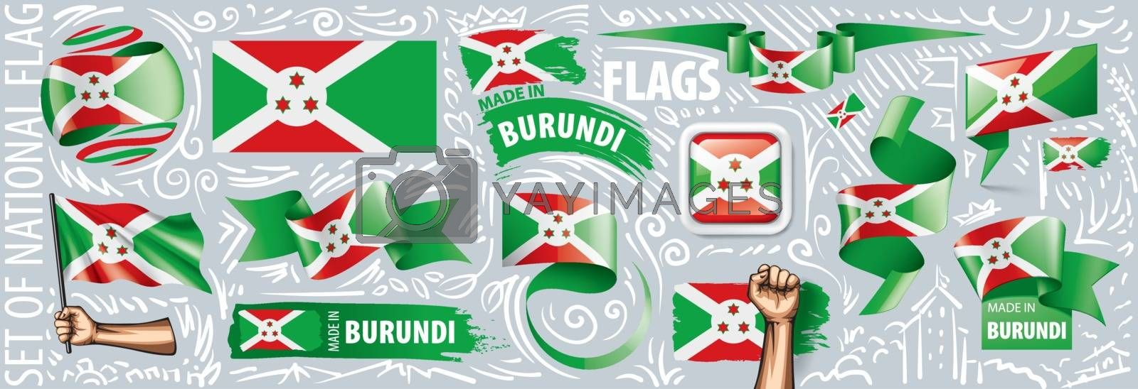 Vector set of the national flag of Burundi in various creative designs.