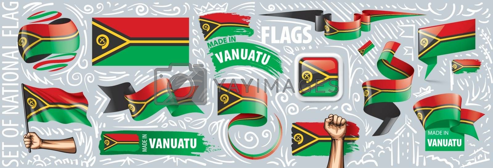 Vector set of the national flag of Vanuatu in various creative designs.