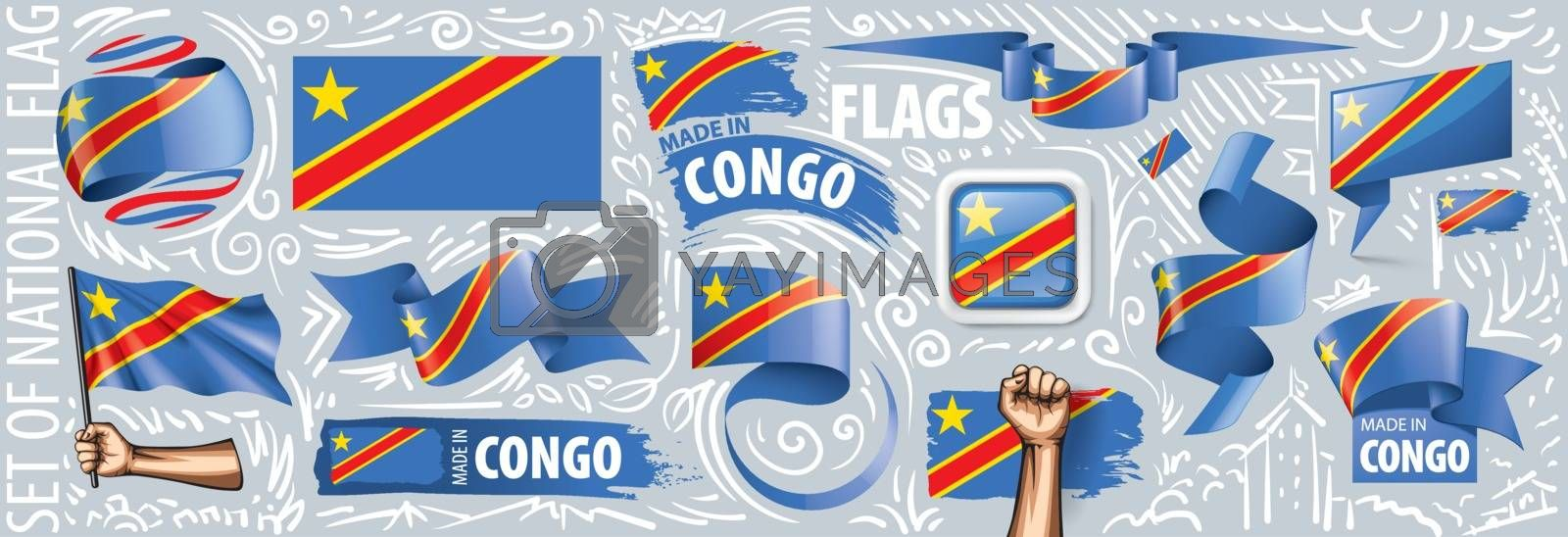 Vector set of the national flag of Democratic Republic of the Congo in various creative designs
