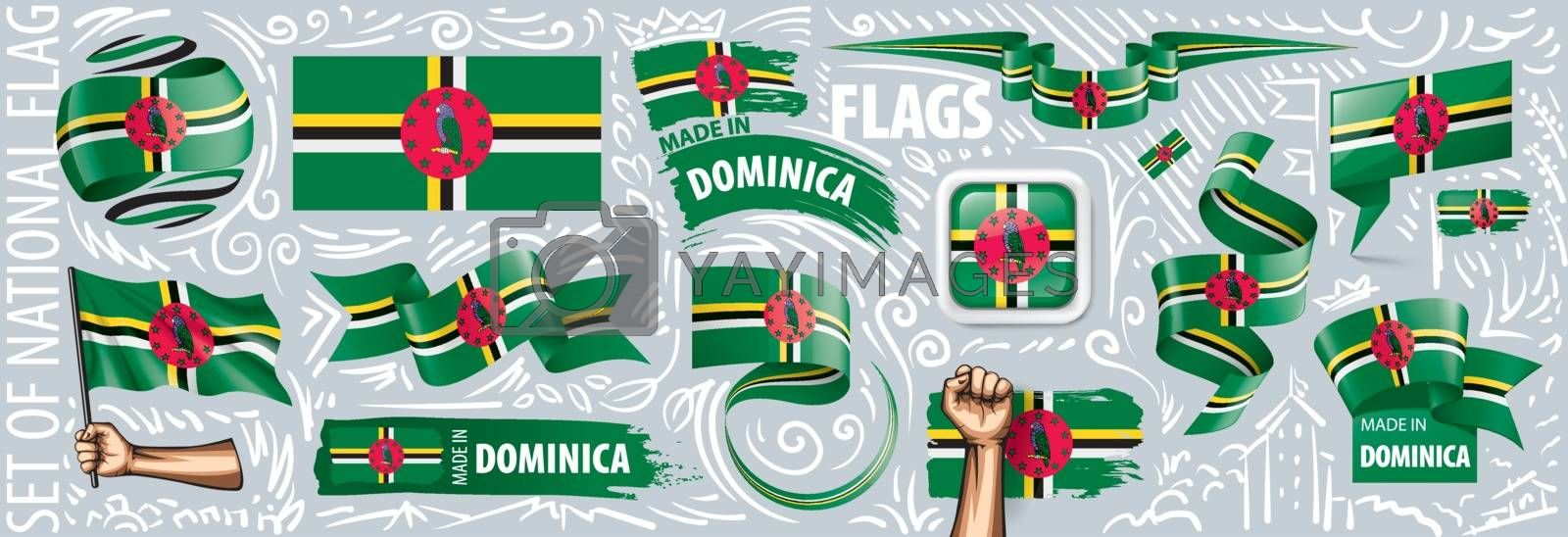 Vector set of the national flag of Dominica in various creative designs.