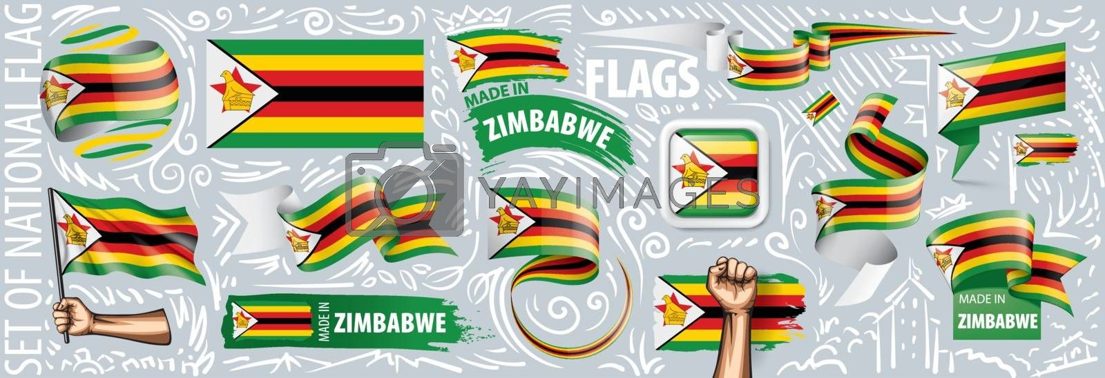 Vector set of the national flag of Zimbabwe in various creative designs.