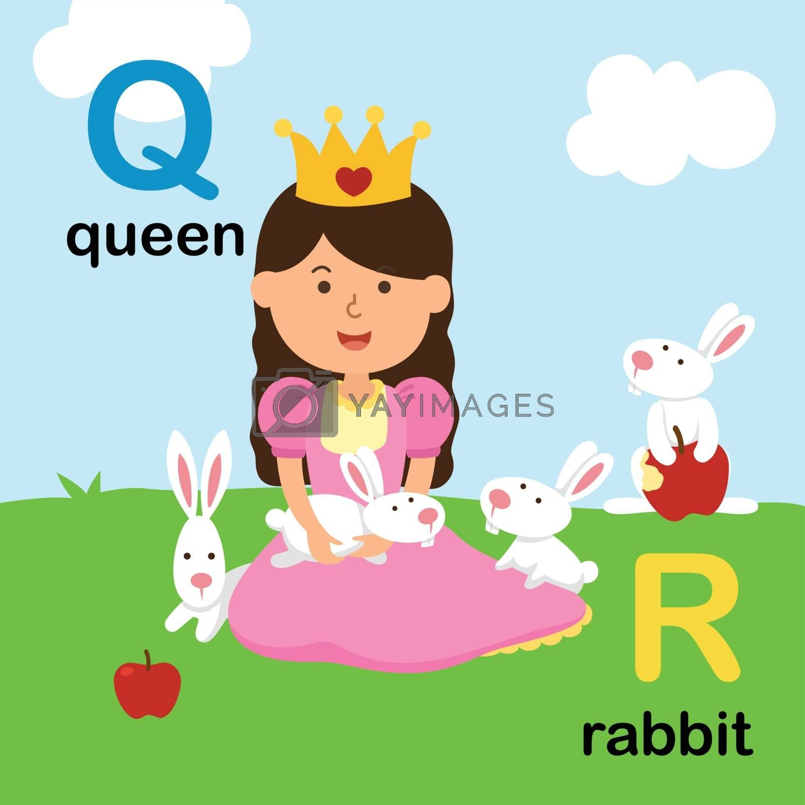 Alphabet Letter Q-queen,R-rabbit,vector illustration