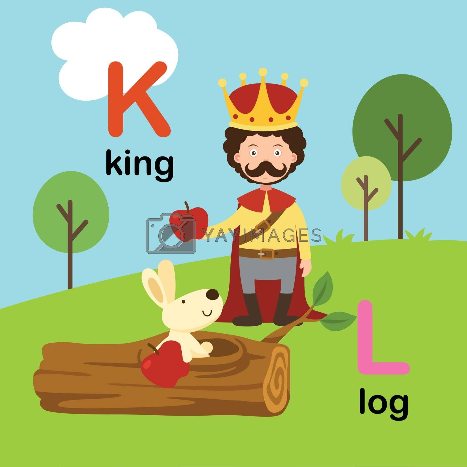 Alphabet Letter K-king,L-log,vector illustration