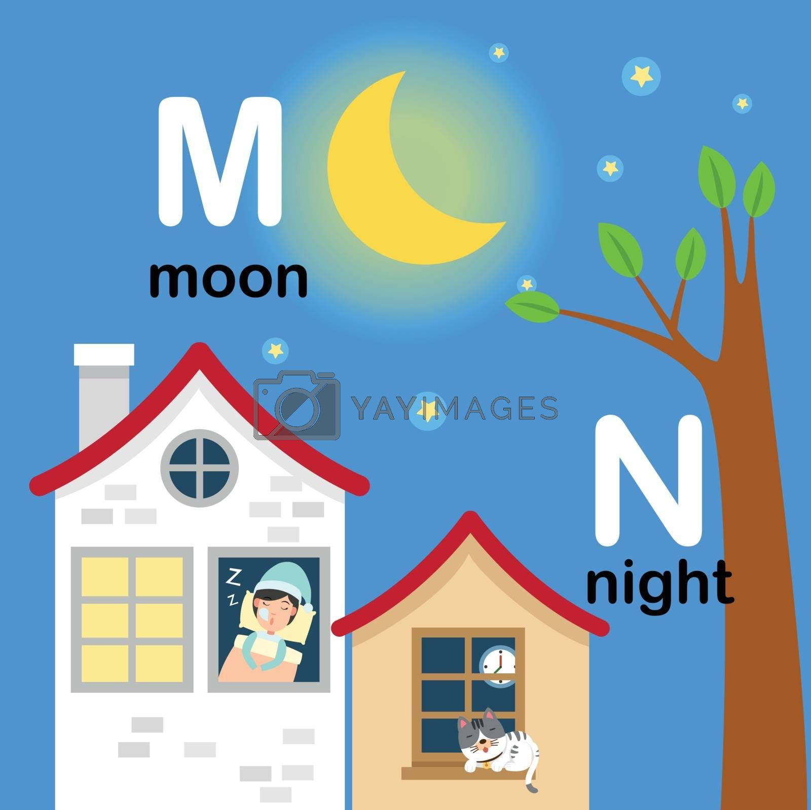 Alphabet Letter M-moon,N-night,vector illustration