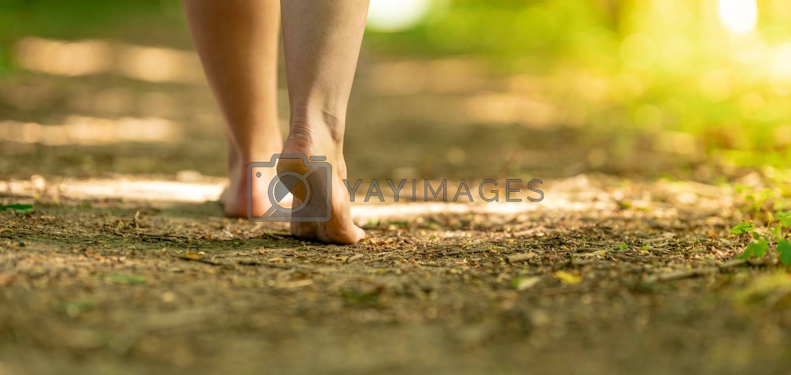 bare feet of a woman walking along a trail in the woods.