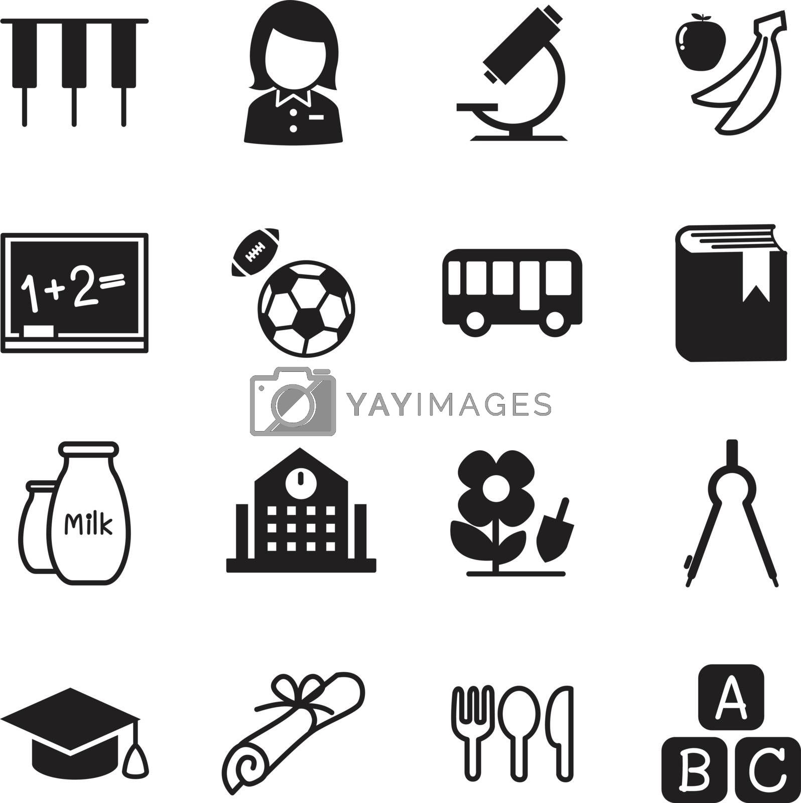 Kindergarten school education icons Vector Illustration Symbol 2