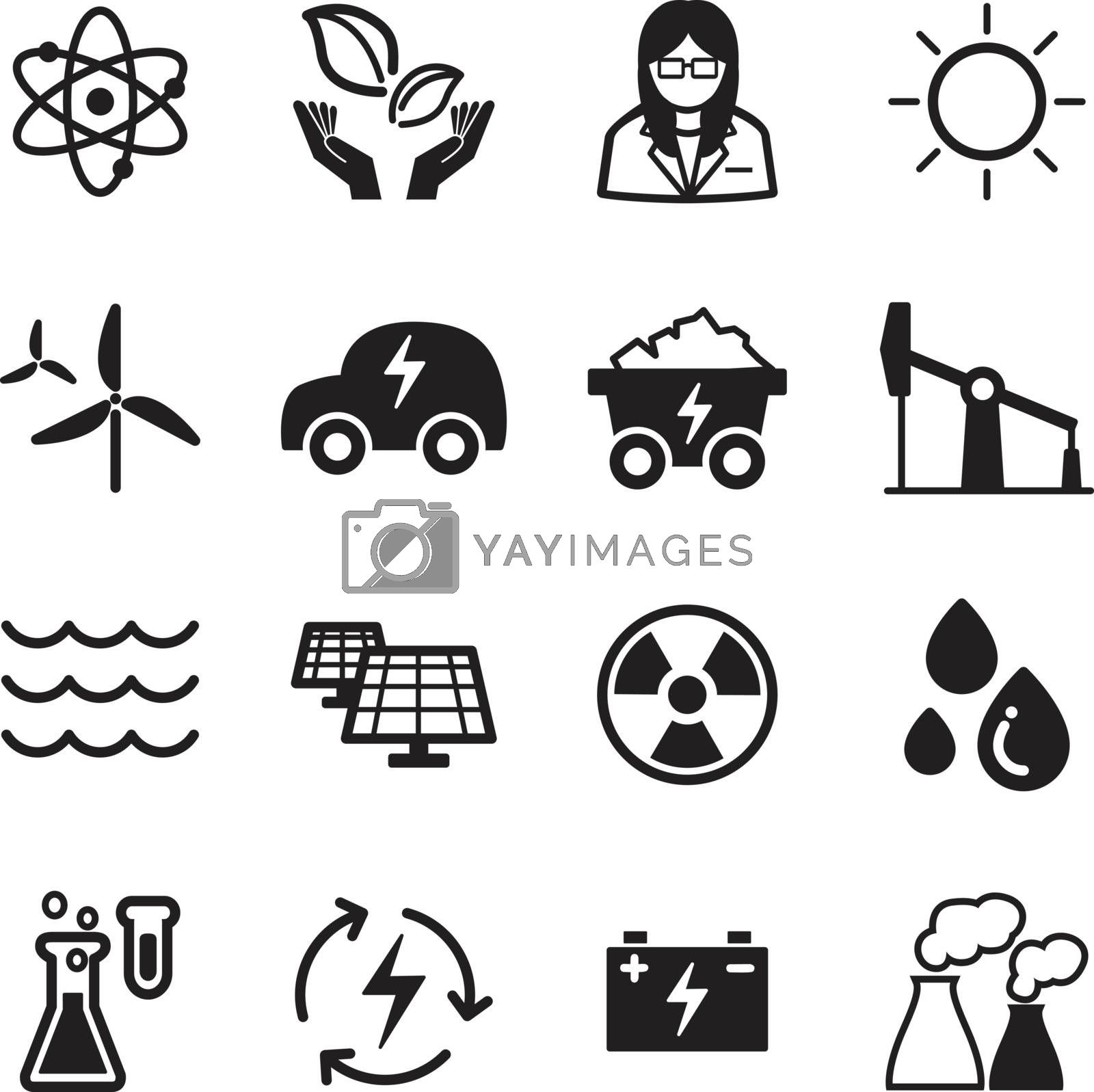 Green energy technology icons