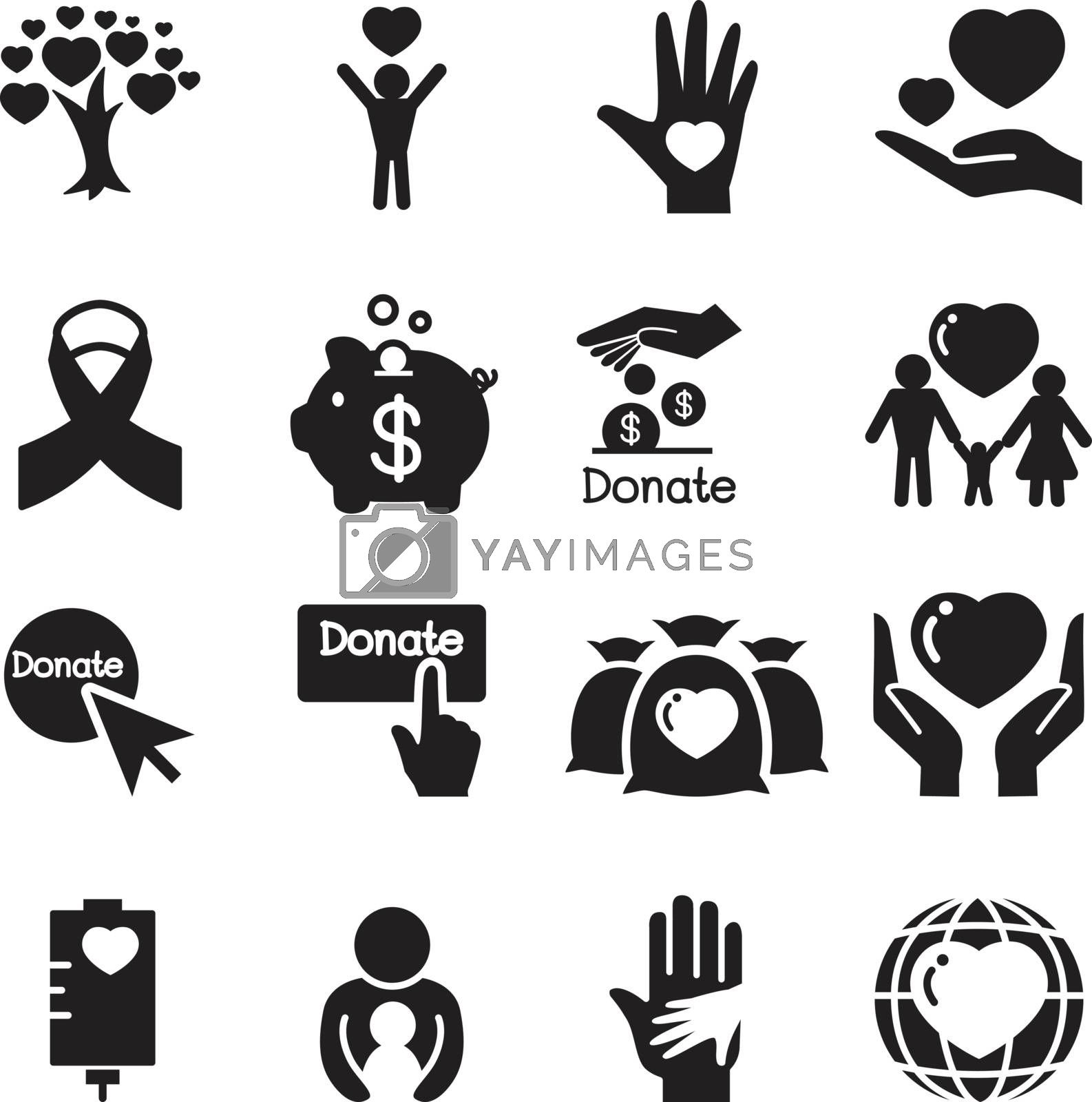 Donation & giving icons Set