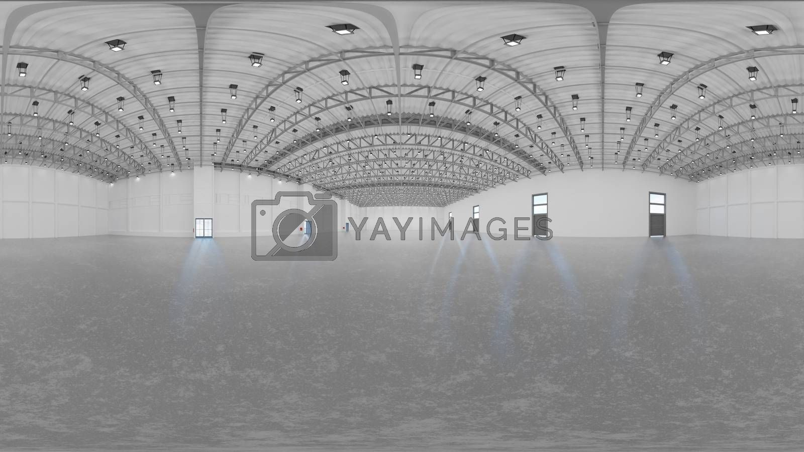 3d gallery room illustration spherical 360 vr degrees, a seamless panorama of the room and interior design for business room