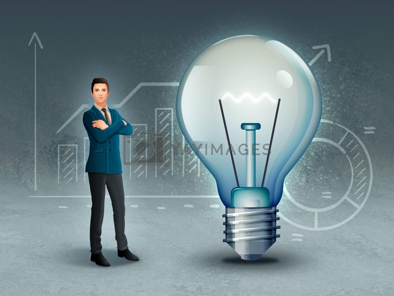Businessman and lightbulb over some financial results graphs. Digital illustration.