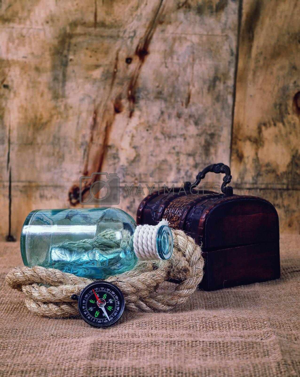 vintage objects,bottle,rope and compass