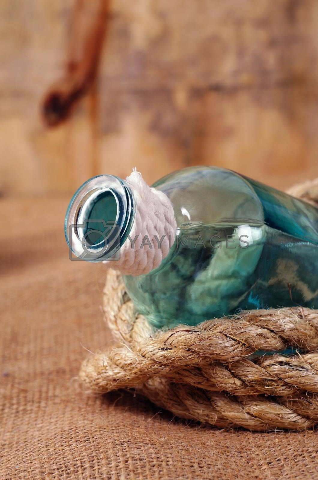 vintage objects,bottle and rope