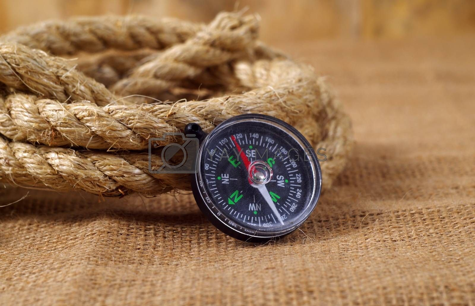 vintage objects,rope and compass