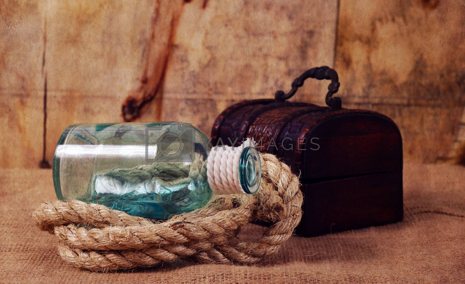 vintage objects,bottle,rope and chest