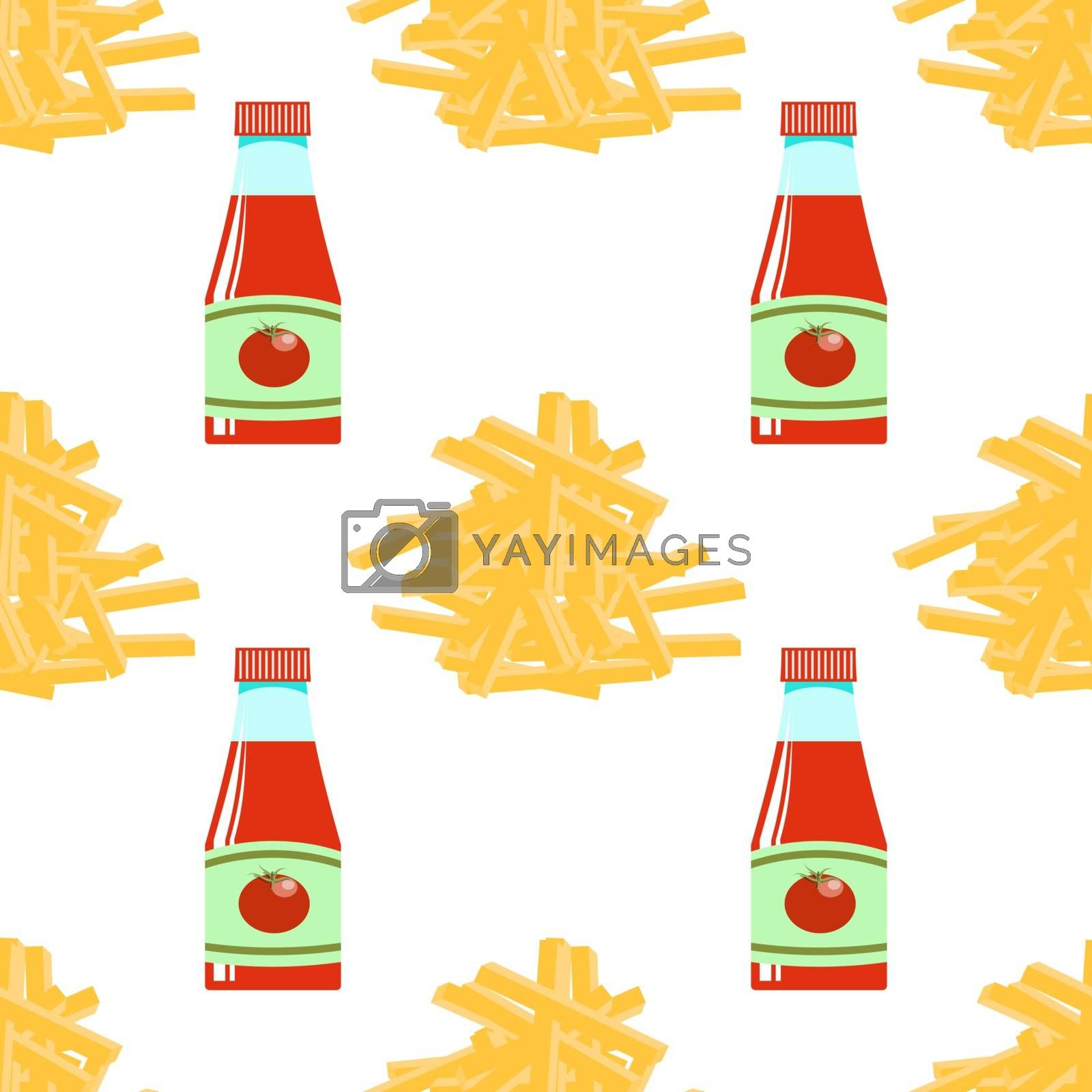 Yellow French Fries and Ketchup Texture. Fry Potato Chips Seamless Pattern on White Background. Slices of Tasty Vegetable. Fast Food Snack. Organic Food. 3d Illustration.