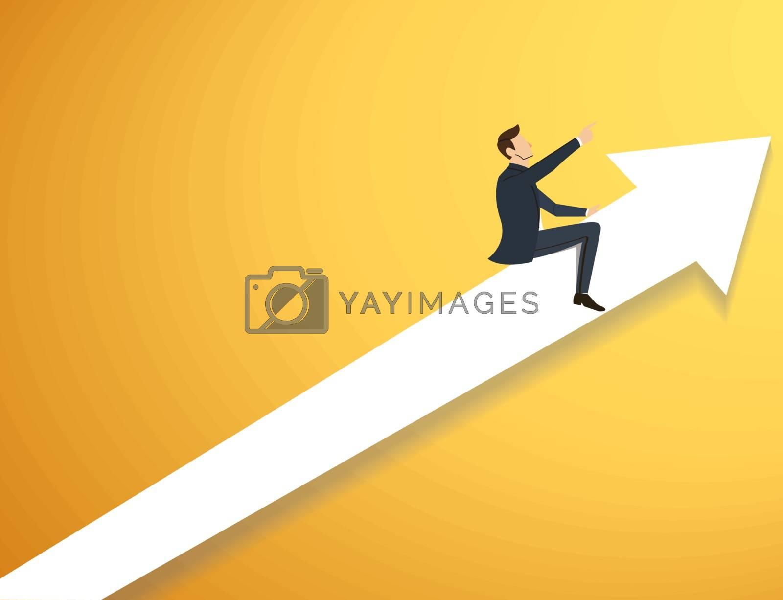 Businessman on arrow icon