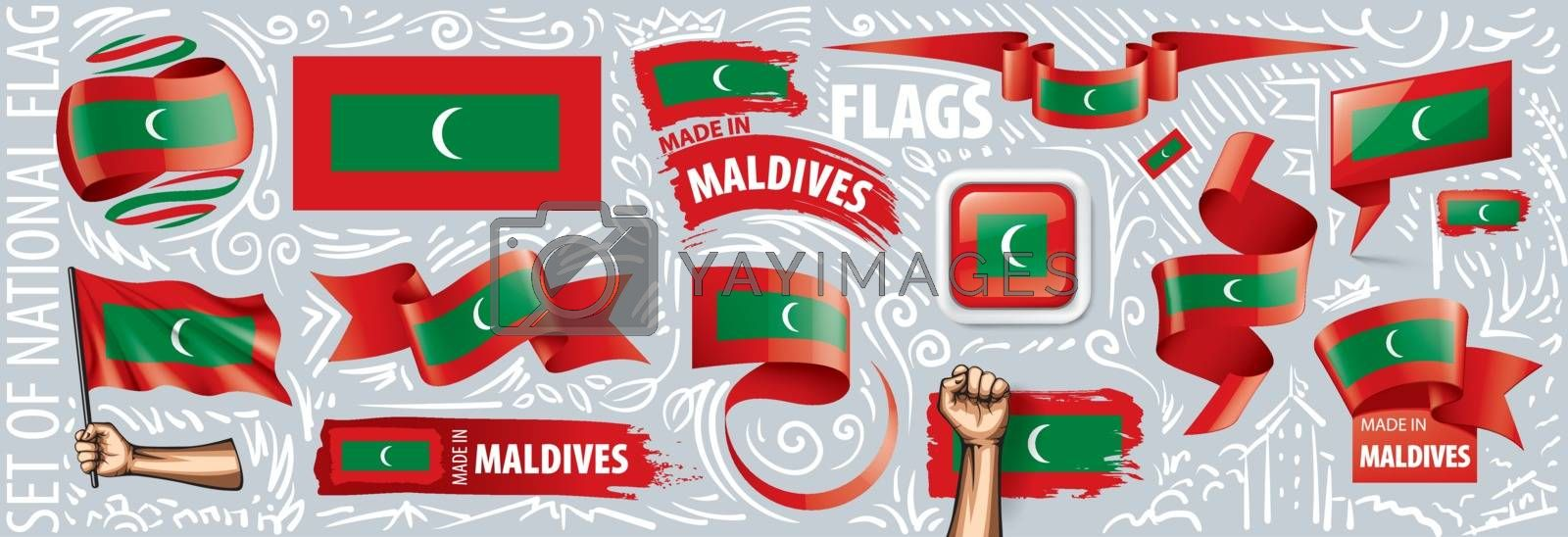 Vector set of the national flag of Maldives national in various creative designs.