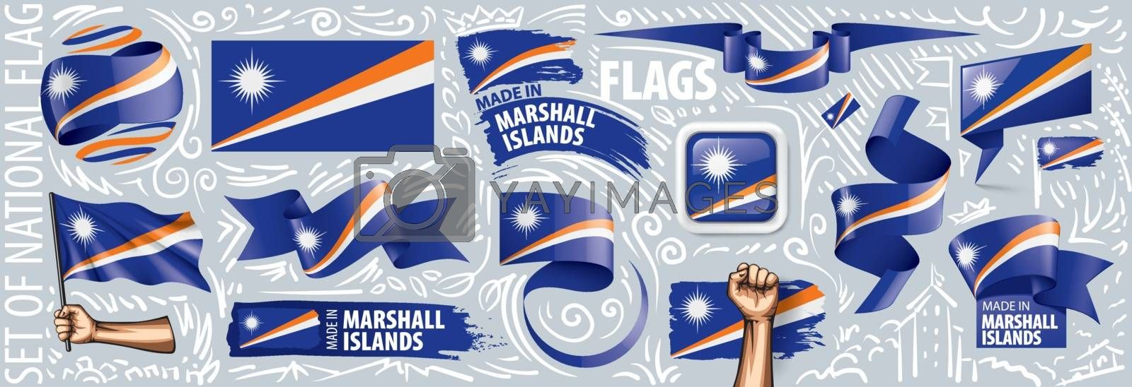 Vector set of the national flag of Marshall Islands in various creative designs.