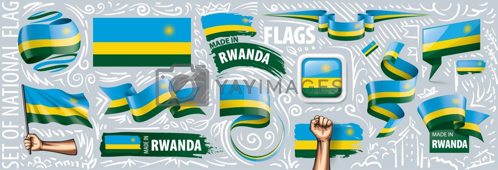 Vector set of the national flag of Rwanda in various creative designs.