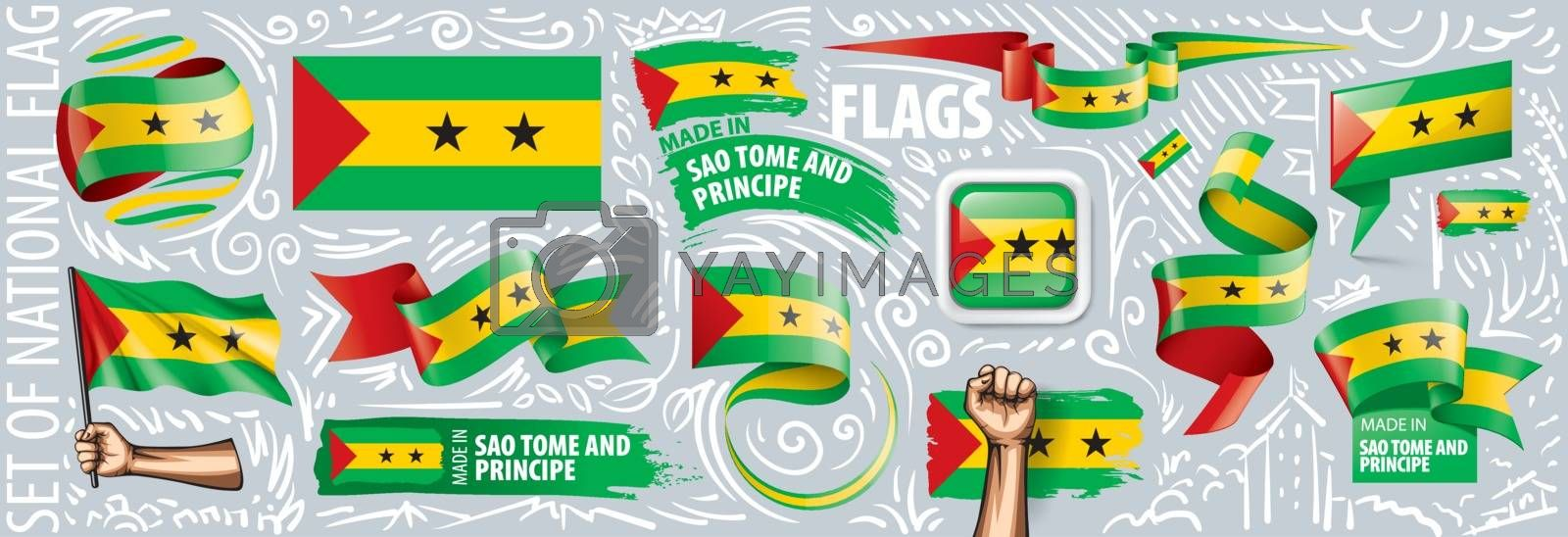 Vector set of the national flag of Sao Tome and Principe in various creative designs.