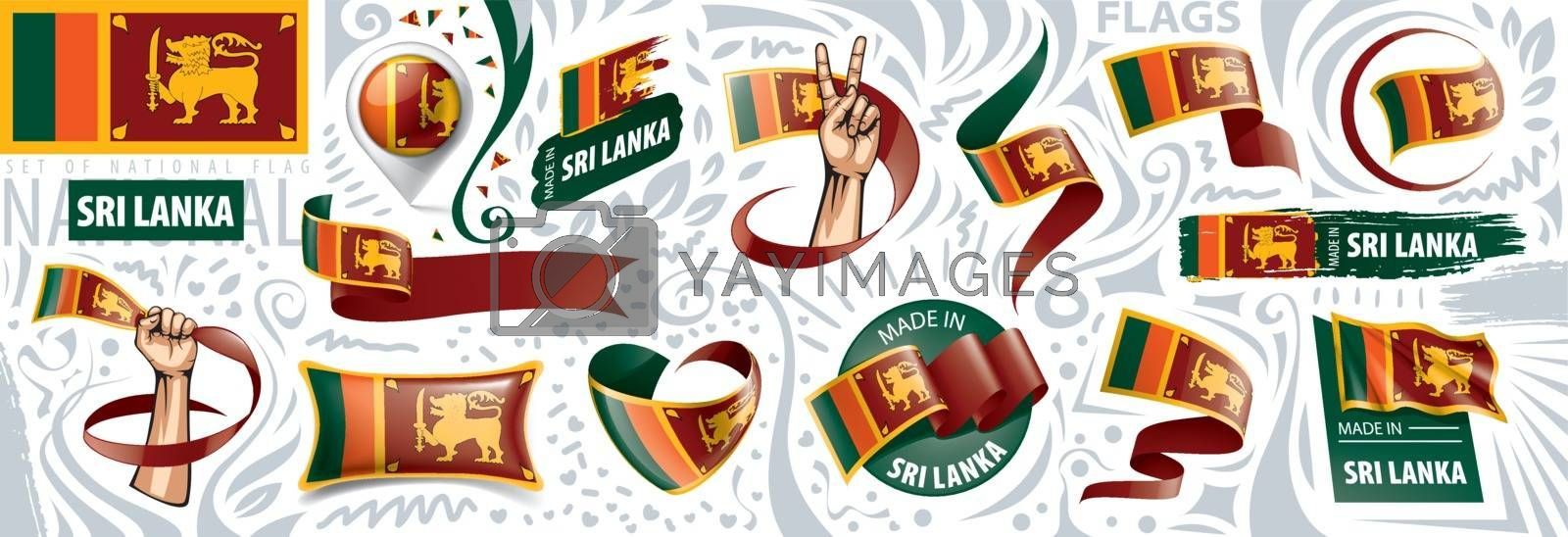 Vector set of the national flag of Sri Lanka in various creative designs.