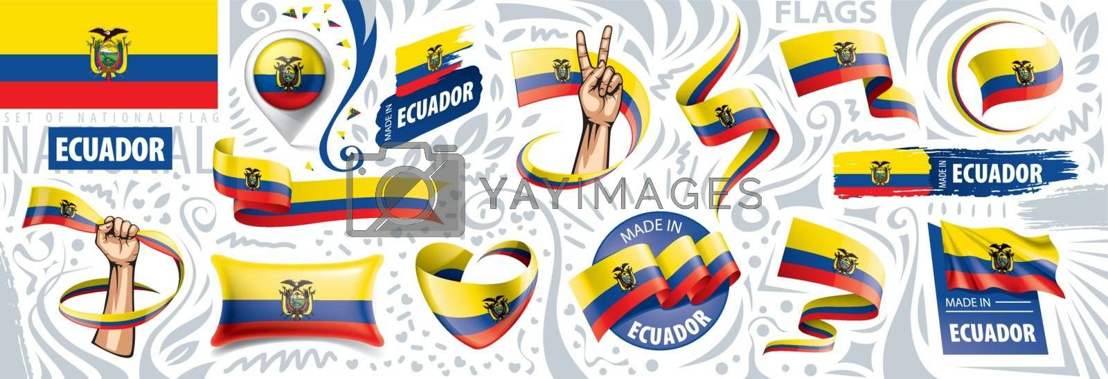 Vector set of the national flag of Ecuador in various creative designs.