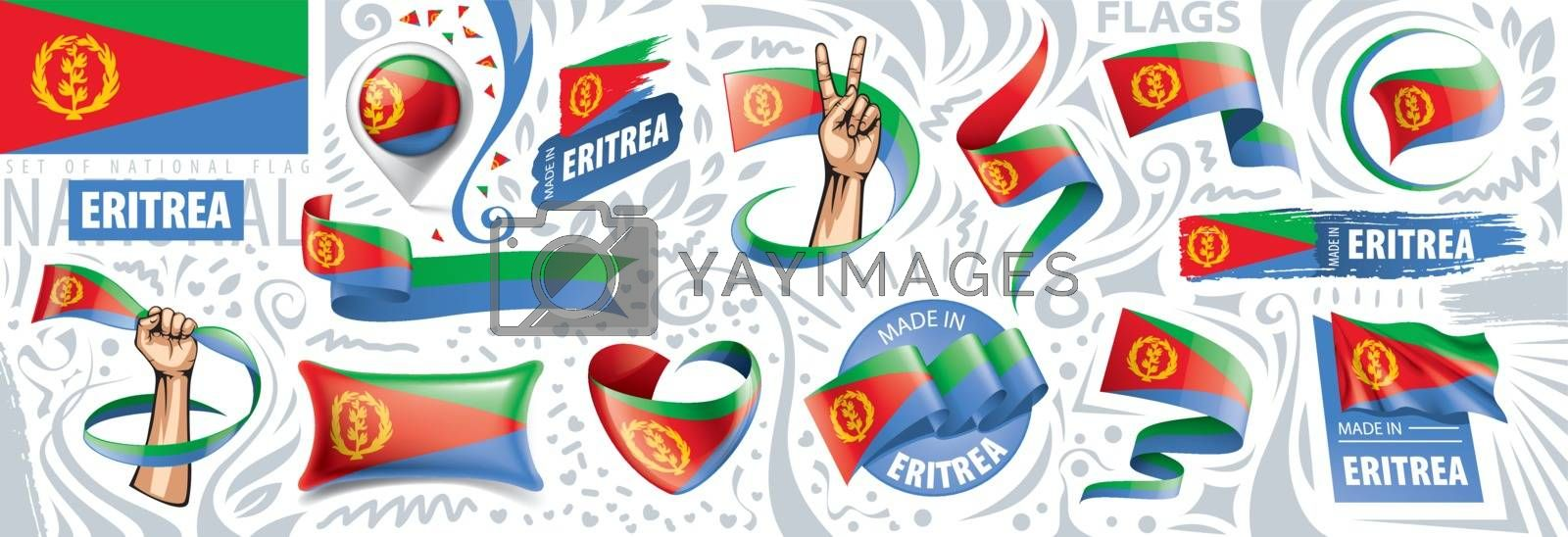 Vector set of the national flag of Eritrea in various creative designs.