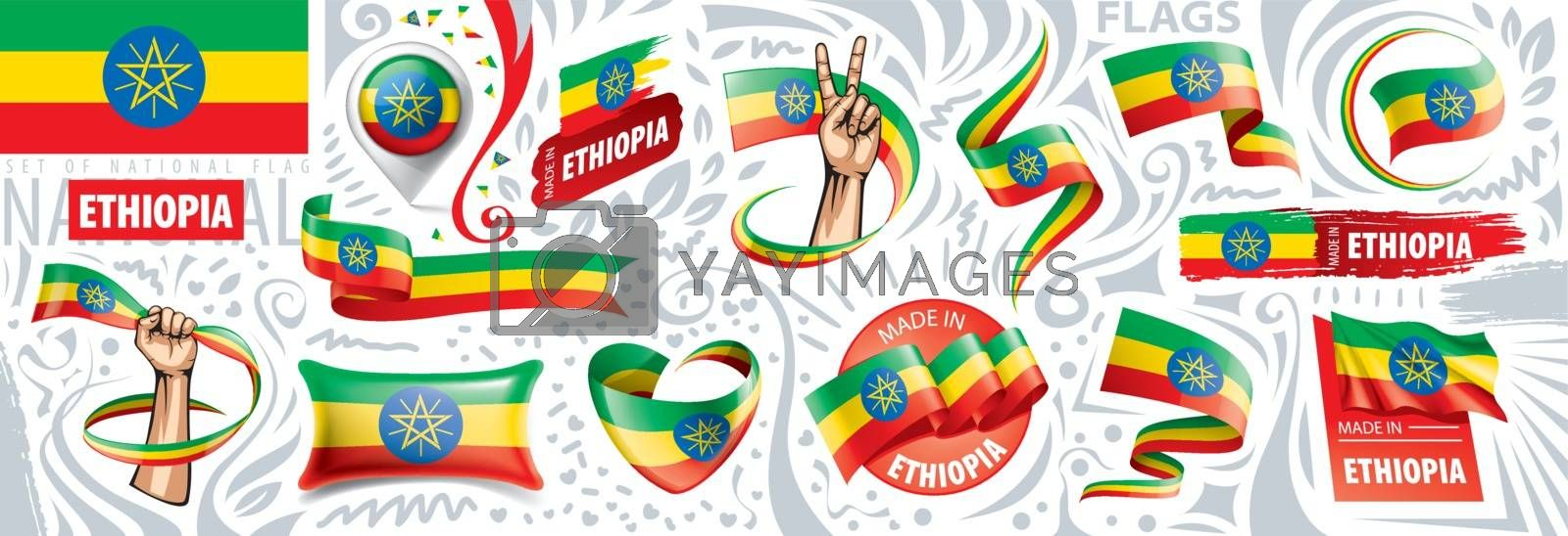 Vector set of the national flag of Ethiopia in various creative designs.