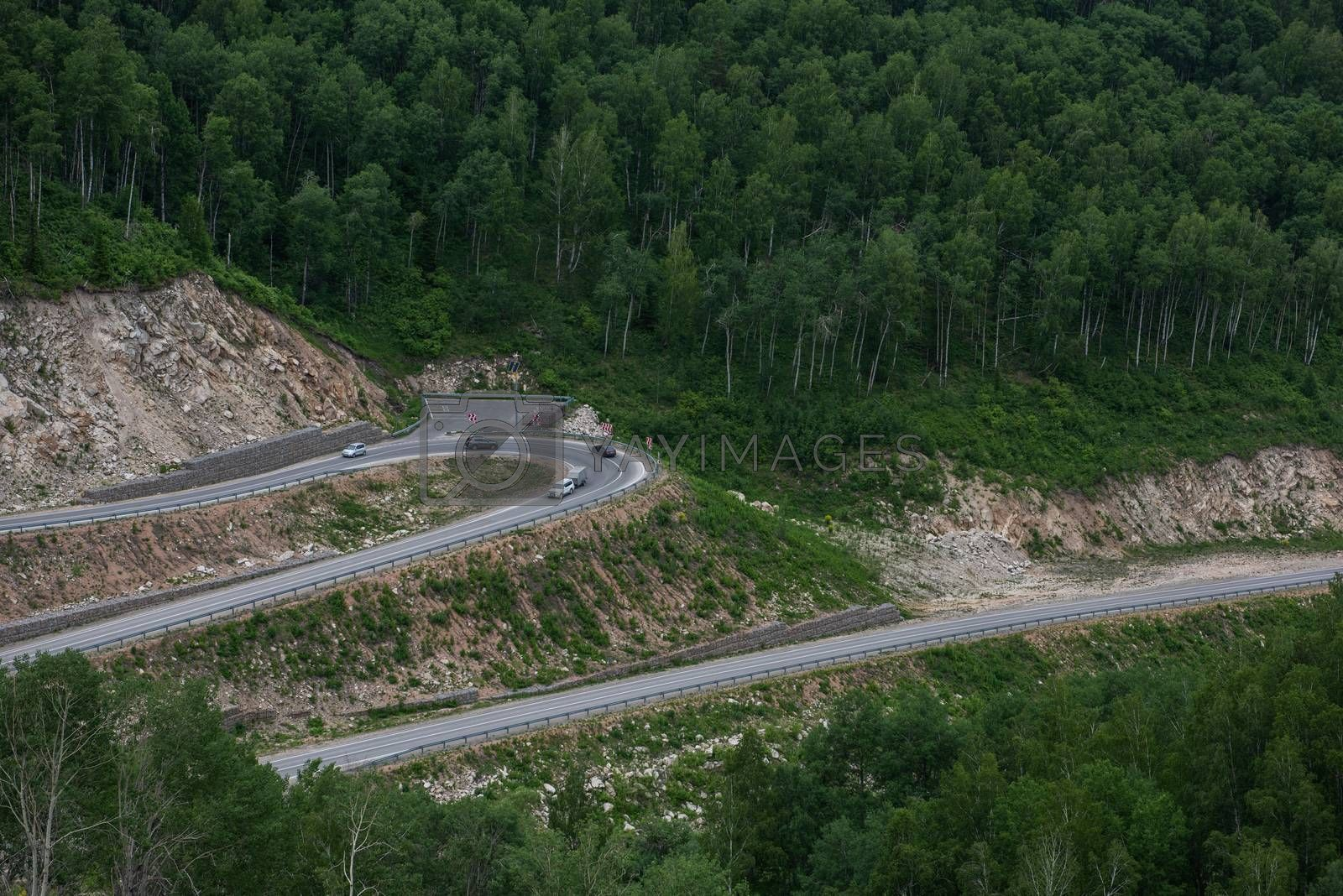 Winding road in the mountains, drone shot. Altai Krai, Western Siberia, Russia. Road to Resort town Belokurikha 2
