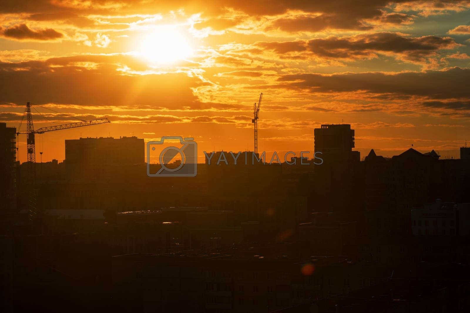 Evening photo of city, beauty summer sunset