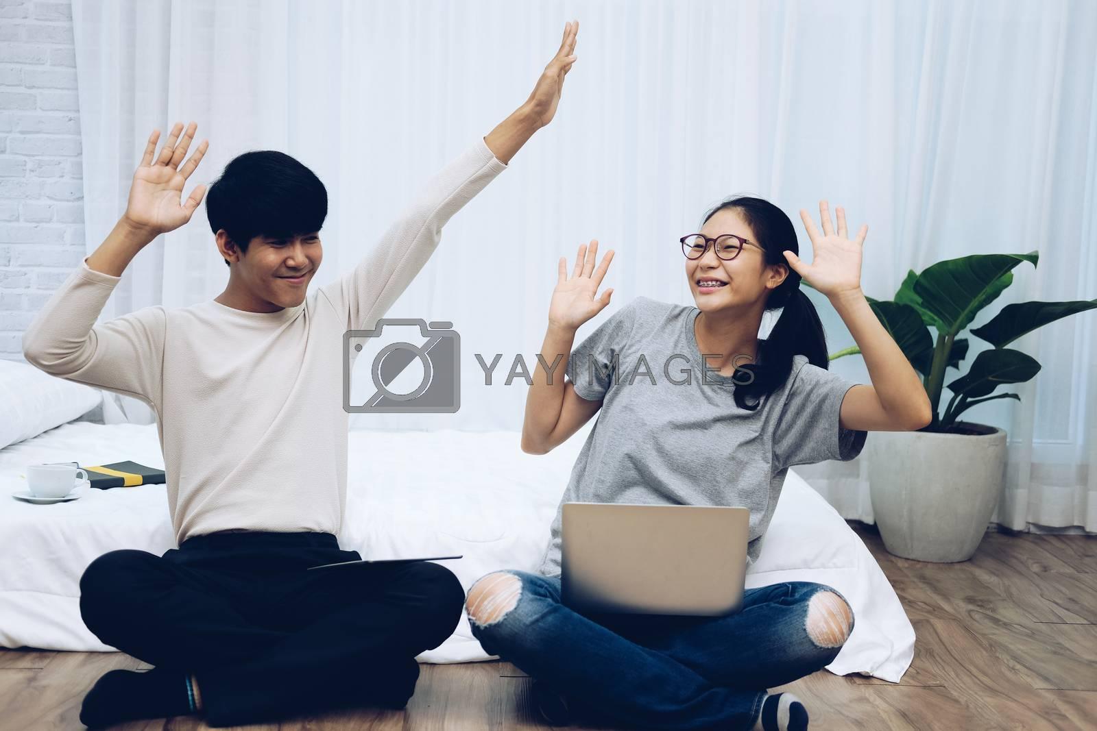 man woman friends using computer tablet. startup teamwork team feeling glad happy