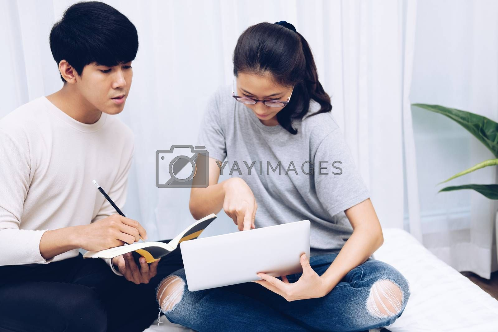 man woman friends students listen lecture studying learning online course on video conference call. work at home