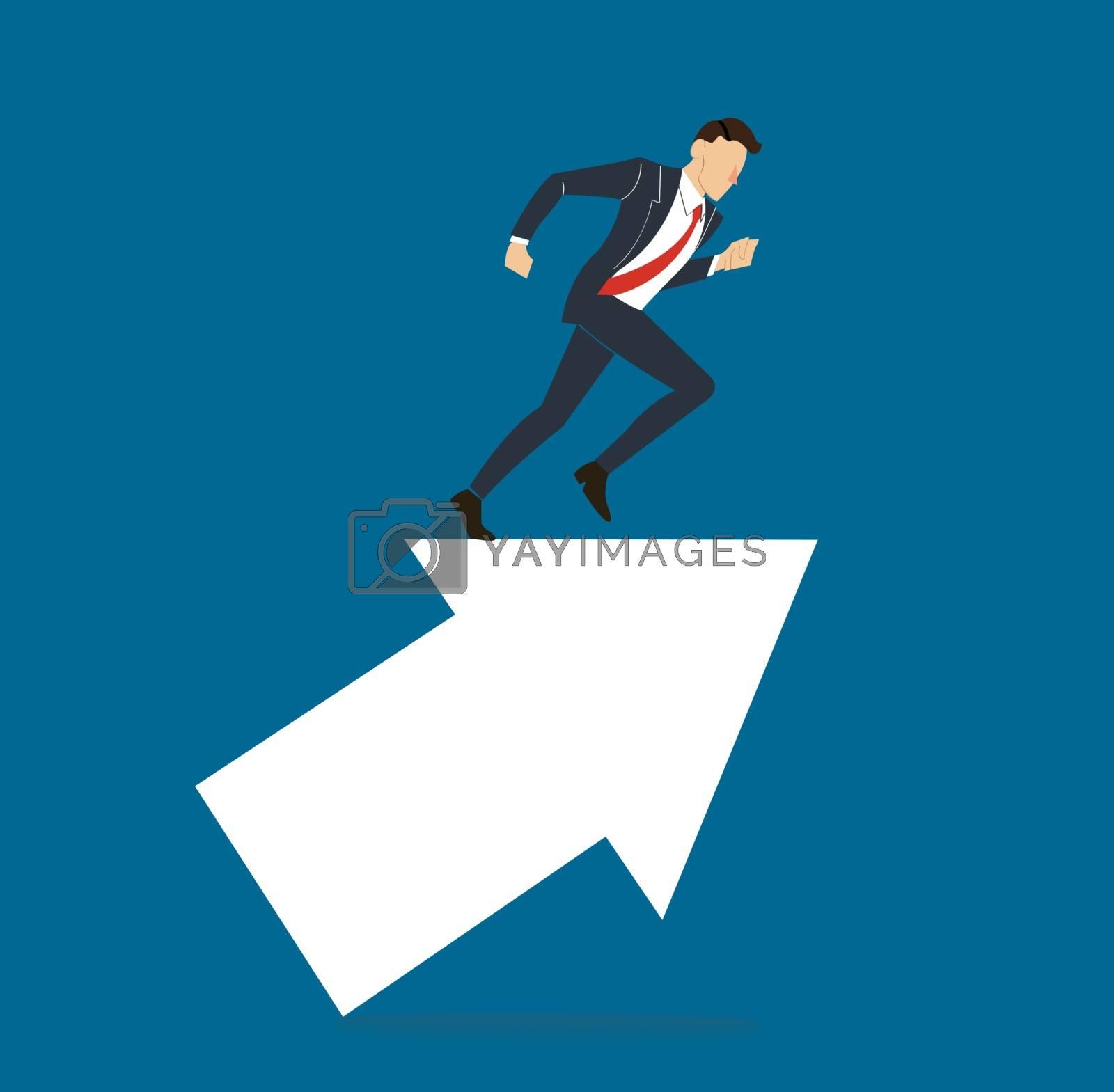 businessman running on arrow concept business vector illustration