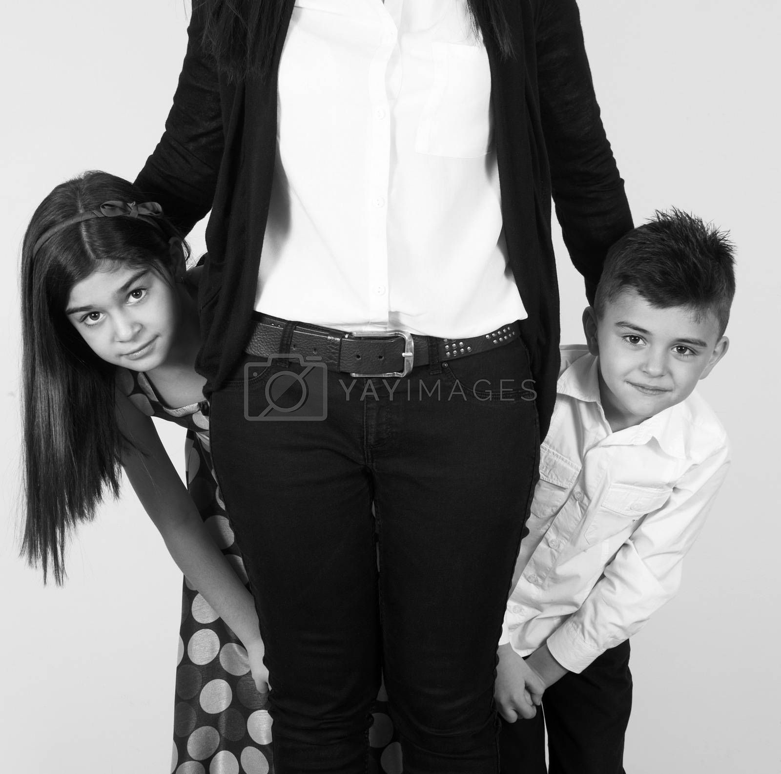mother with children  together at home