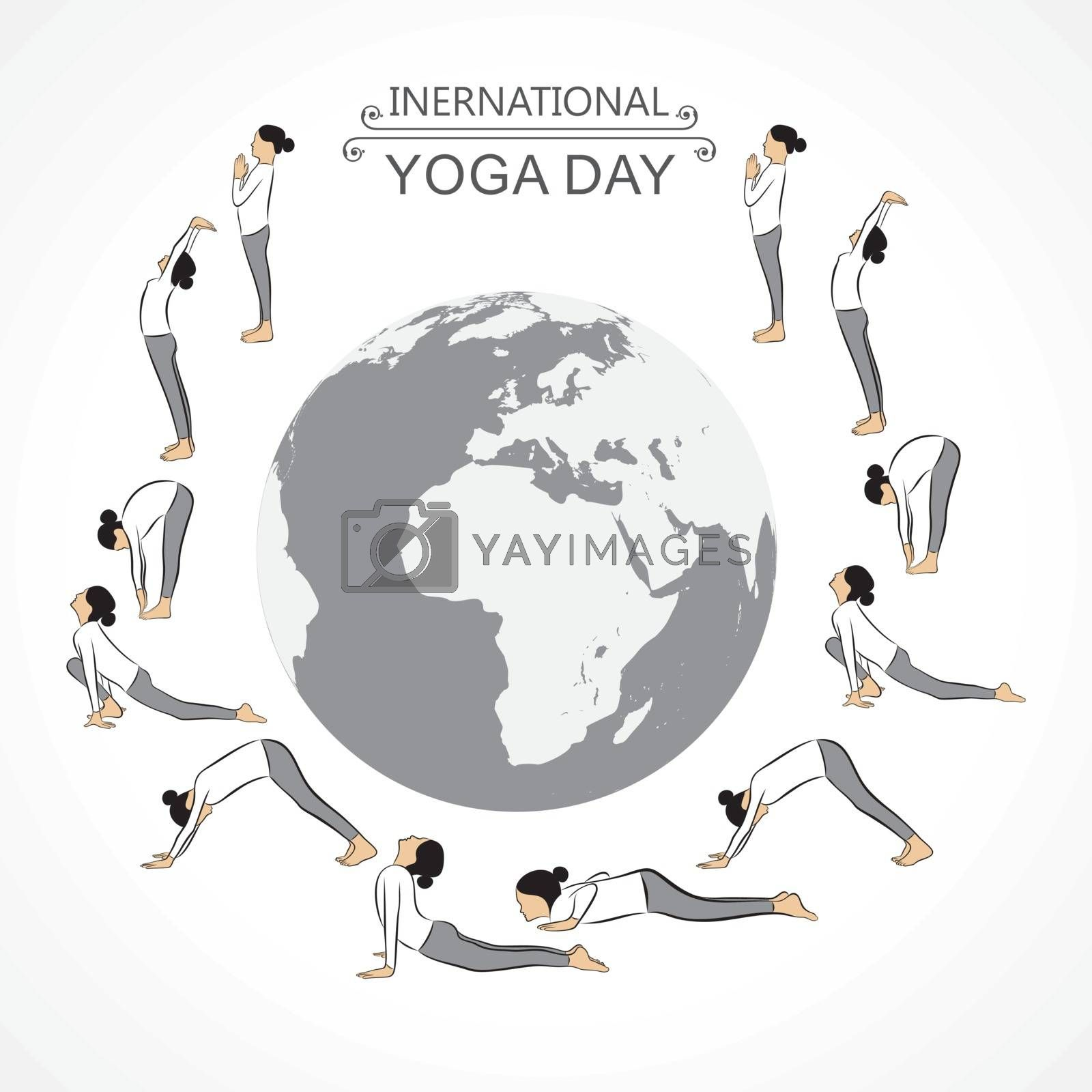 A Girl doing Sun Salutation for International Yoga Day observed on 21st June by graphicsdunia4you
