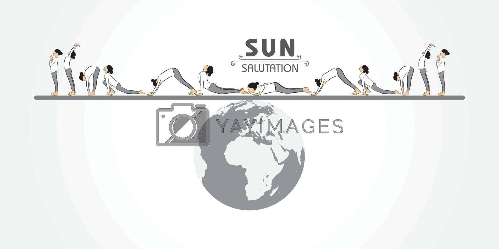 illustration of A Girl doing Sun Salutation for International Yoga Day observed on 21st June