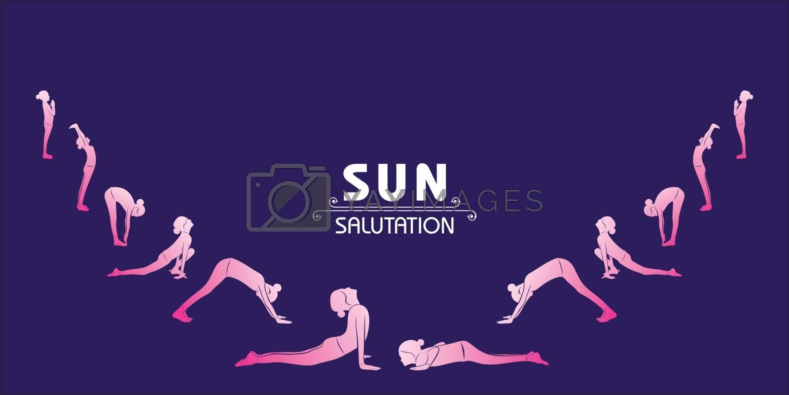 illustration of A Girl doing Sun Salutation for International Yoga Day observed on 21st June