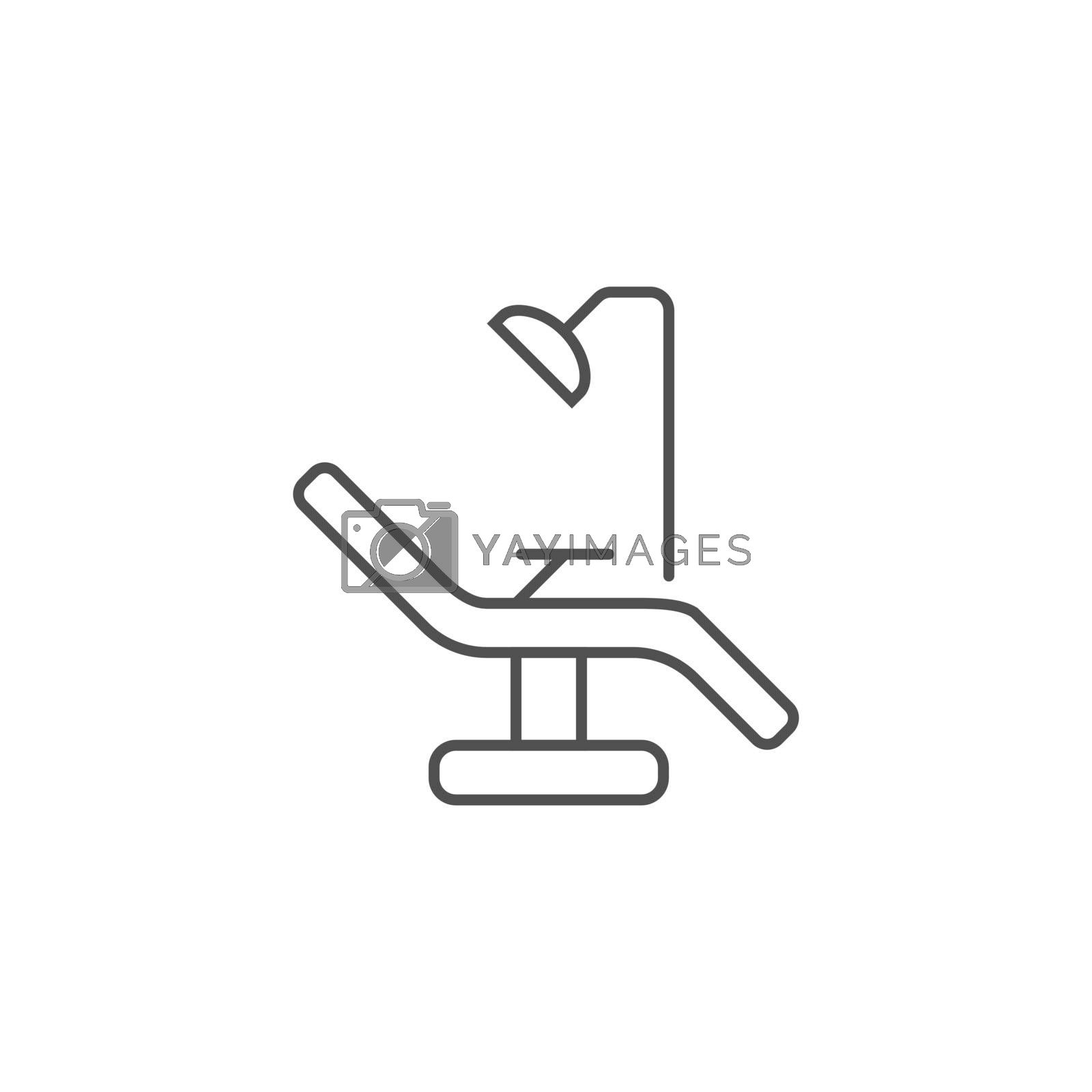 Dental Chair Line Icon. Dental Chair Line Related Vector Line Icon. Isolated on White Background. Editable Stroke.