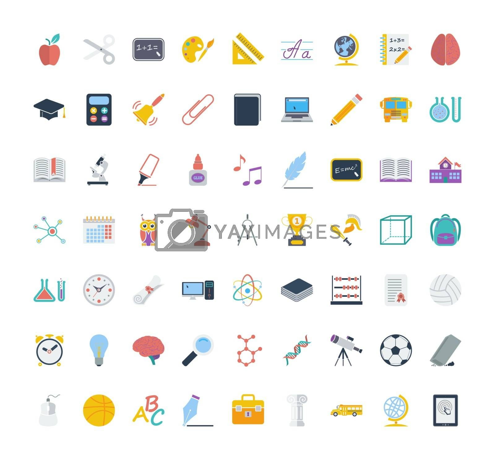 Education icon set. Flat vector related icon set for web and mobile applications. It can be used as - logo, pictogram, icon, infographic element. Vector Illustration.
